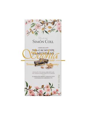 Simón Coll 70% Horká čokoláda s celými mandľami