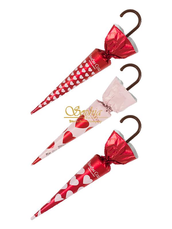 Čokoládový dáždnik so srdiečkami